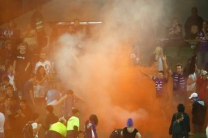 Perth fans set off flares amidst salary cap breach scandal